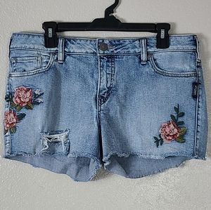 Silver Aiko Shorts Plus Size 32 Flower Embriodery